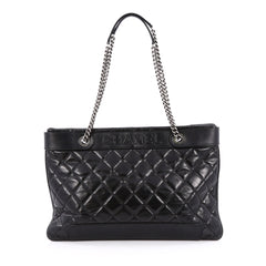 Chanel Aged Chain Logo Shopping Tote Quilted Aged Calfskin Large Black