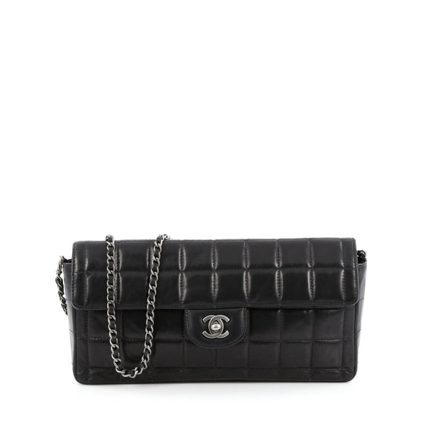 fd7a01b39b60 Buy Chanel Chocolate Bar Flap Bag Quilted Lambskin East West 1433101 – Rebag