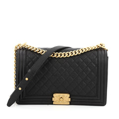 Chanel Boy Flap Bag Quilted Caviar New Medium black