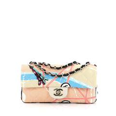 Chanel Eiffel Tower Flap Bag Quilted Printed Canvas Small multicolor