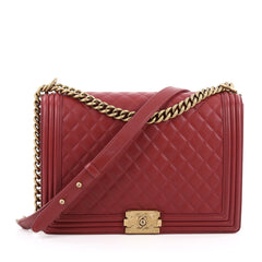 Chanel Boy Flap Bag Quilted Lambskin Large red