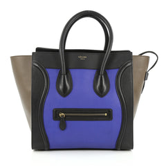 Celine Tricolor Luggage Handbag Leather Mini black