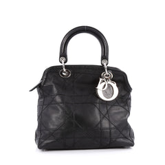 Christian Dior Granville Satchel Cannage Quilt Leather Black