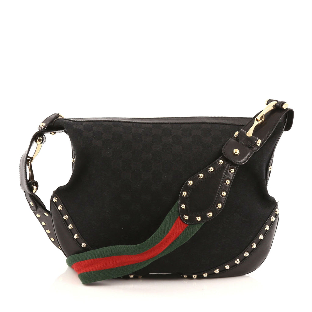 5f413a7d69b Buy Gucci Pelham Web Hobo Studded GG Canvas Medium Black 1437202 – Rebag