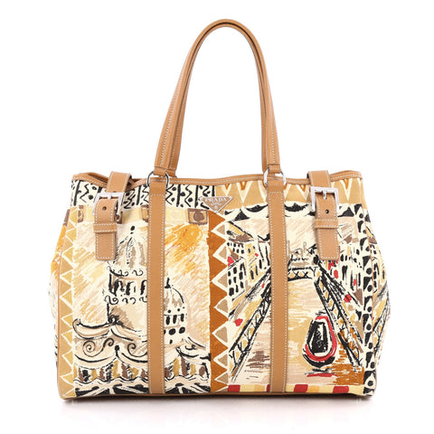 8f2fab6b4093 Buy Prada Venice Belted Tote Printed Canvas and Leather 1438602 – Rebag