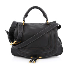 Chloe Marcie Messenger Bag Leather Medium Black