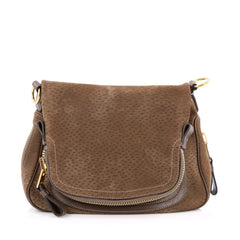 Tom Ford Jennifer Shoulder Bag Peccary Embossed Leather Medium brown