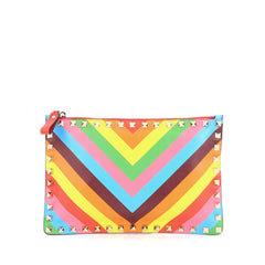 Valentino 1973 Rockstud Zip Pouch Striped Leather Medium  Multicolor