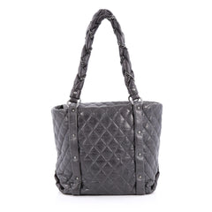 Chanel Ligne Lady Braid Tote Quilted Leather Medium Gray