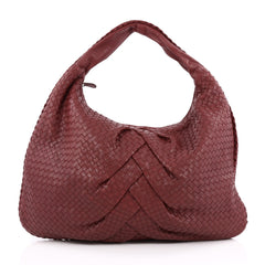 Bottega Veneta Veneta Hobo Pleated Intrecciato Nappa Maxi red