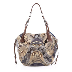 Prada Pushlock Tote Patchwork Python Large Multicolor