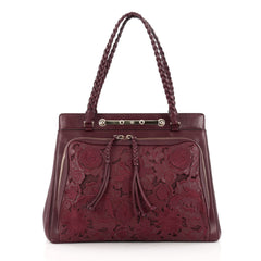 Valentino Demetra Tote Leather Lace Red