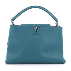 Louis Vuitton Capucines Handbag Leather MM blue