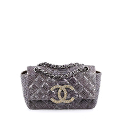 Chanel Crystal CC Chain Flap Bag Quilted Python Small purple