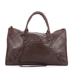 Balenciaga Work Classic Studs Handbag Leather Brown