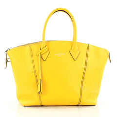 Louis Vuitton Soft Lockit Handbag Leather PM Yellow