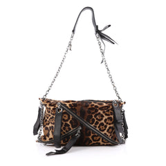 Christian Louboutin Trophe Shoulder Bag Pony Hair Medium Print