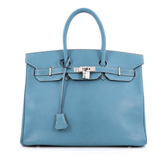 Hermes Birkin Handbag Blue Chevre de Coromandel with Palladium Hardware 35 blue