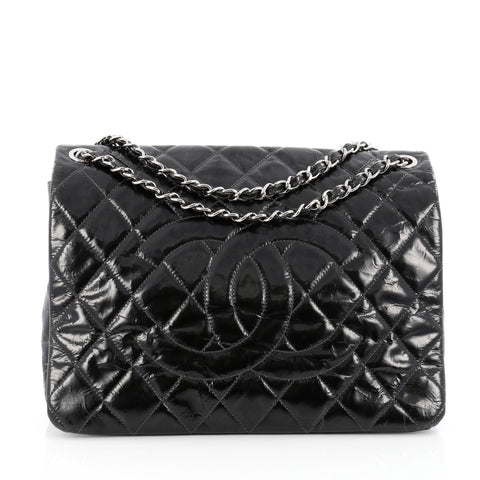 b1275346317f Buy Chanel Chain CC Full Flap Bag Quilted Patent Large Black 1457601 – Rebag