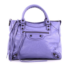 Balenciaga Velo Classic Studs Handbag Leather purple