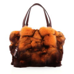 Tod's Flower Bag Fox Fur Small Orange