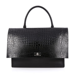 Givenchy Shark Convertible Satchel Crocodile Embossed Leather Large Black