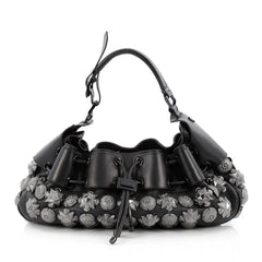 Burberry Mason Warrior Hobo Studded Leather Medium Black