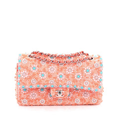 Chanel Classic Double Flap Bag Embellished Sequins and Pearls Medium Pink