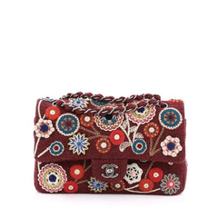 Chanel Paris-Salzburg Flap Bag Embroidered Felt Medium red