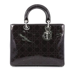 Christian Dior Lady Dior Handbag Stitched Cannage Patent Large Black
