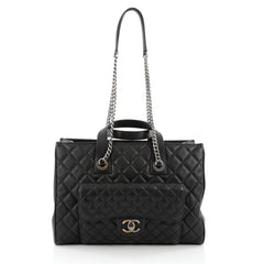 Chanel CC Chain Front Pocket Shopping Tote Quilted Goatskin Large Black