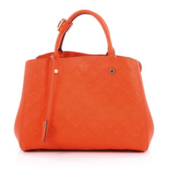 Louis Vuitton Montaigne Handbag Monogram Empreinte Leather MM Orange