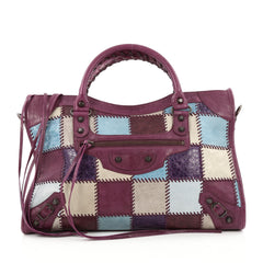 Balenciaga City Classic Studs Handbag Patchwork Leather Medium Multicolor