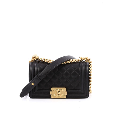 Buy Chanel Boy Flap Bag Quilted Lambskin Small Black 1468701 – Rebag 3728d23ff440d