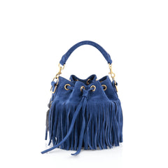 Saint Laurent Fringe Emmanuelle Bucket Bag Suede Small Blue