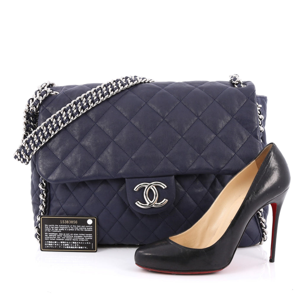 b5b7cc904fc265 Buy Chanel Chain Around Flap Bag Quilted Leather Maxi Blue 1472702 ...