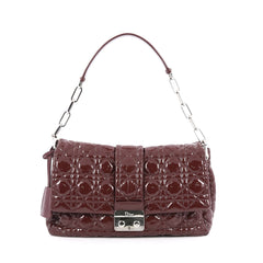 Christian Dior New Lock Flap Bag Cannage Quilt Patent Medium