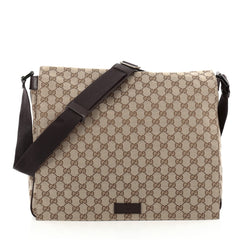 Gucci Flap Messenger Bag GG Canvas Large Brown