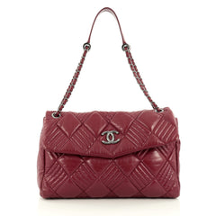 Chanel In and Out Flap Bag Quilted Lambskin Maxi Red