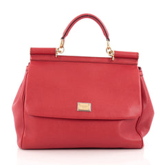 Dolce & Gabbana Miss Sicily Handbag Leather Medium Red