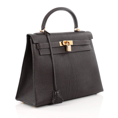 Buy Hermes Kelly Handbag Black Chevre de Coromandel with 1491302 – Rebag 86ce61716dfe1
