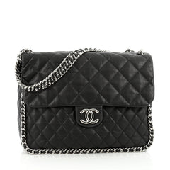 Chanel Chain Around Flap Bag Quilted Leather Maxi Black