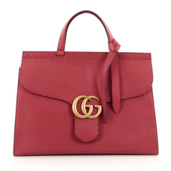 Gucci Marmont Top Handle Bag Leather Medium Red