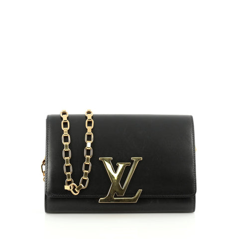 b09304847cc Buy Louis Vuitton Chain Louise Clutch Calfskin GM Black 1496901 – Rebag