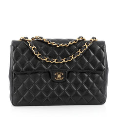 Chanel Vintage Square Classic Single Flap Bag Quilted Caviar Jumbo Black