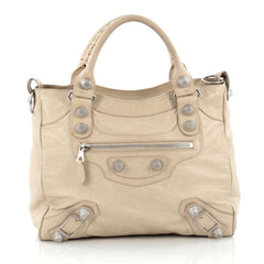 Balenciaga Velo Giant Studs Handbag Leather neutral