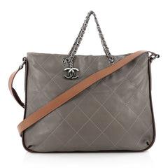 Chanel Country Chic Shoulder Bag Quilted Lambskin Large Gray