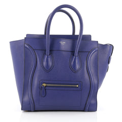 Celine Luggage Handbag Grainy Leather Mini blue