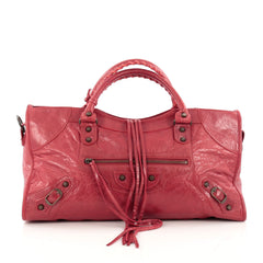 Balenciaga Part Time Classic Studs Handbag Leather red