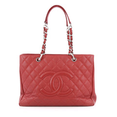 Chanel Grand Shopping Tote Quilted Caviar red